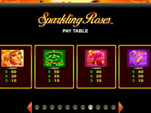 Sparkling Roses Paytable