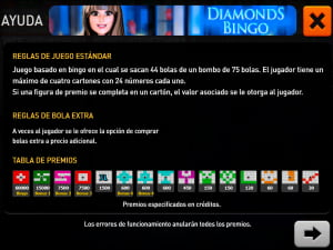 Reglas del bingo Diamonds