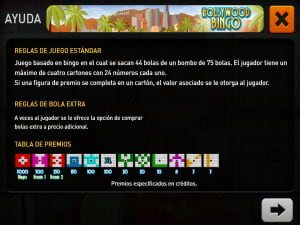 Reglas del Bingo Hollywood