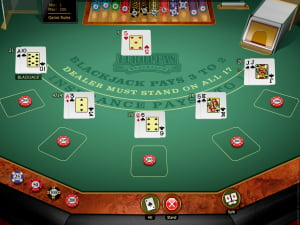 Manos de BlackJack Europeo Multihand Gold