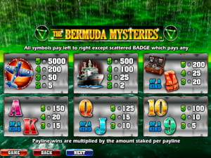 Pagos de la slot The Bermuda Mysteries